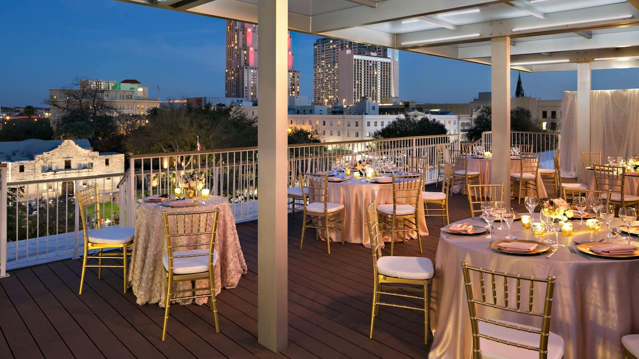 Dining area overlooking the Alamo and downtown San Antonio