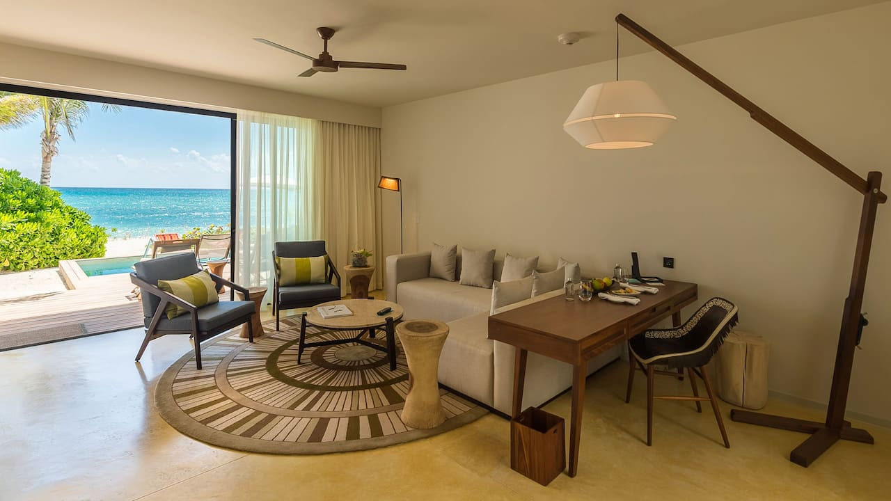 Andaz Mayakoba Resort Riviera Maya bilevel suite living room