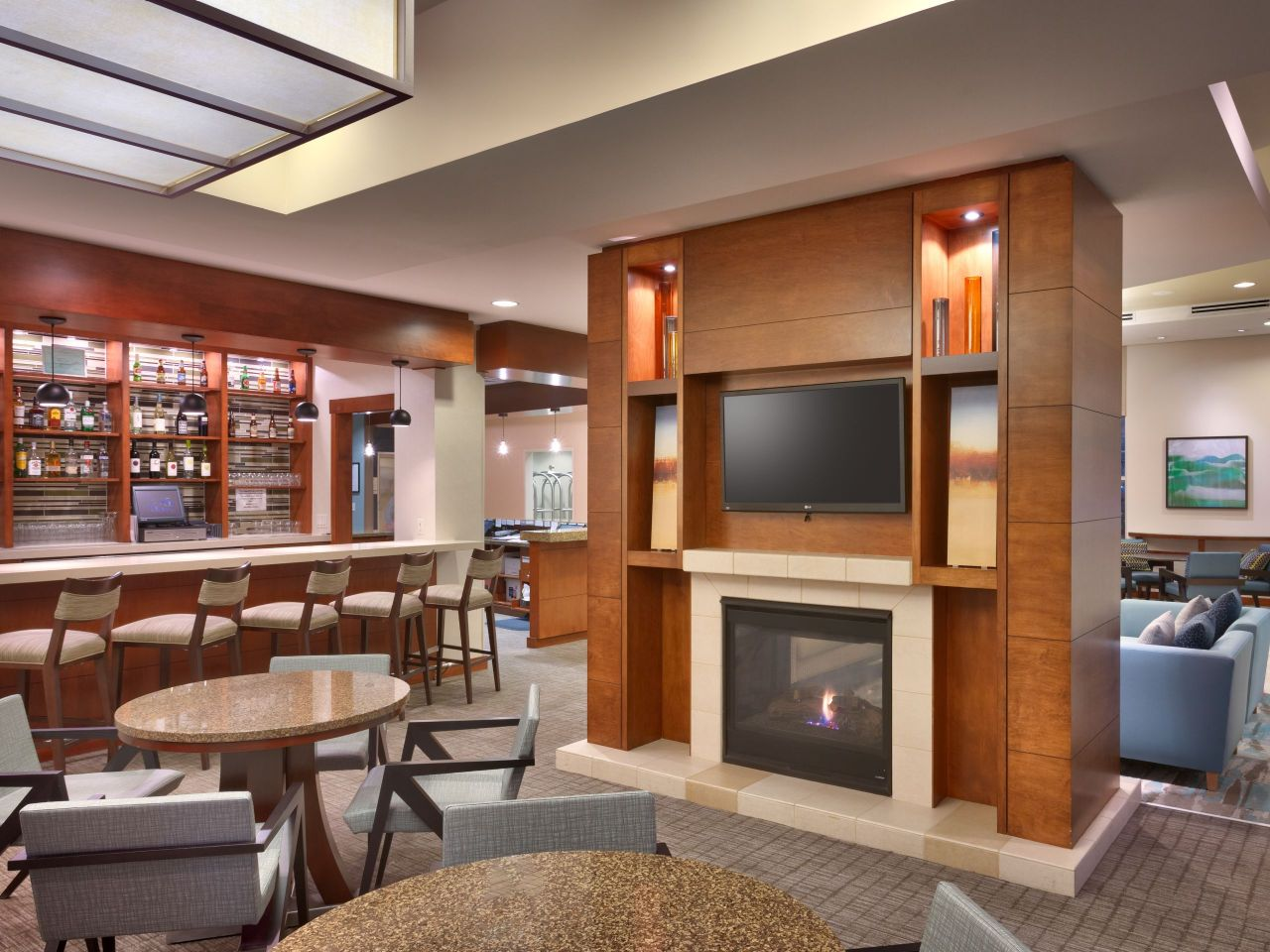 Hyatt House Lobby Fireplace