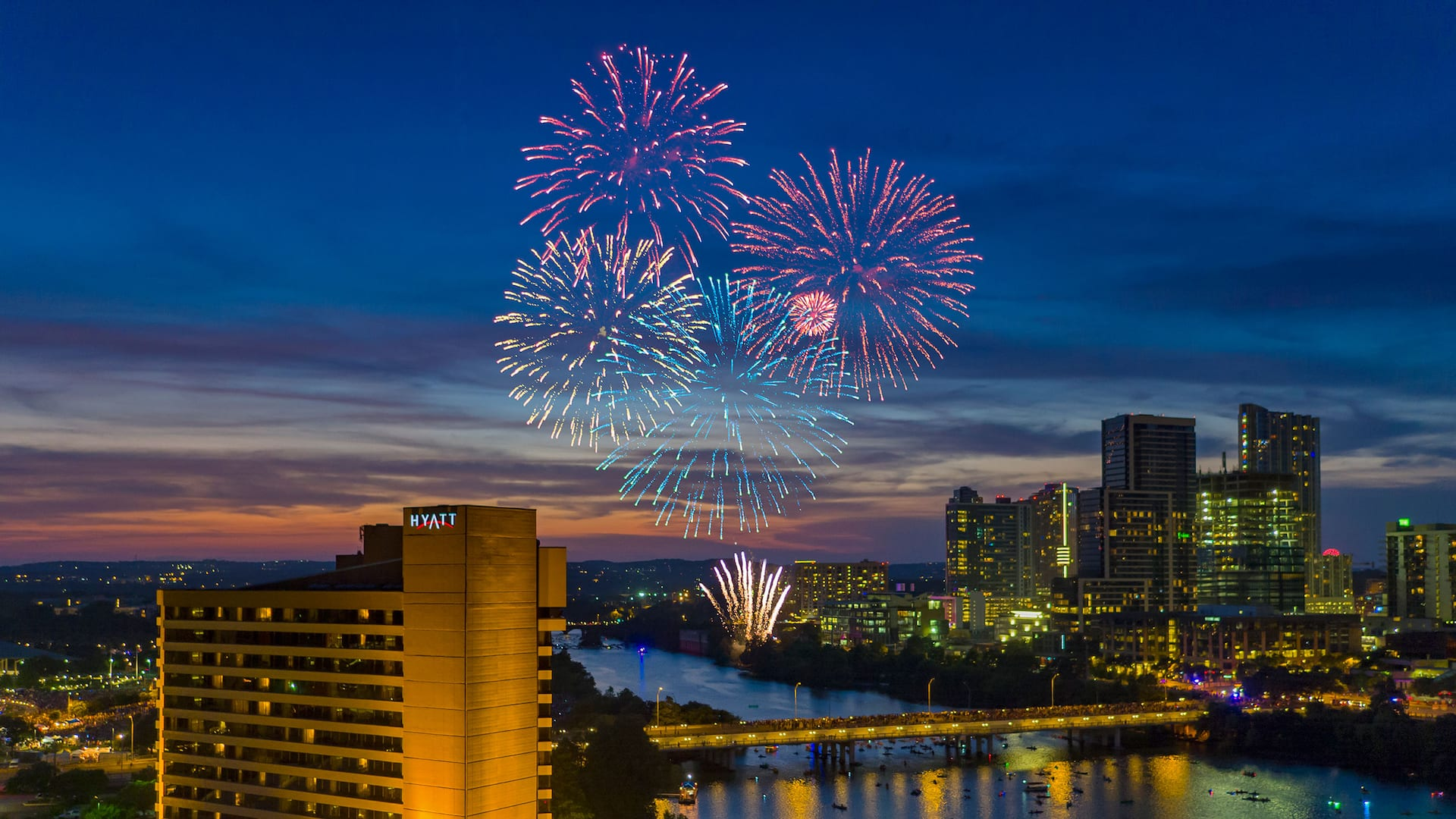 July 4th celebration in downtown Austin with fireworks