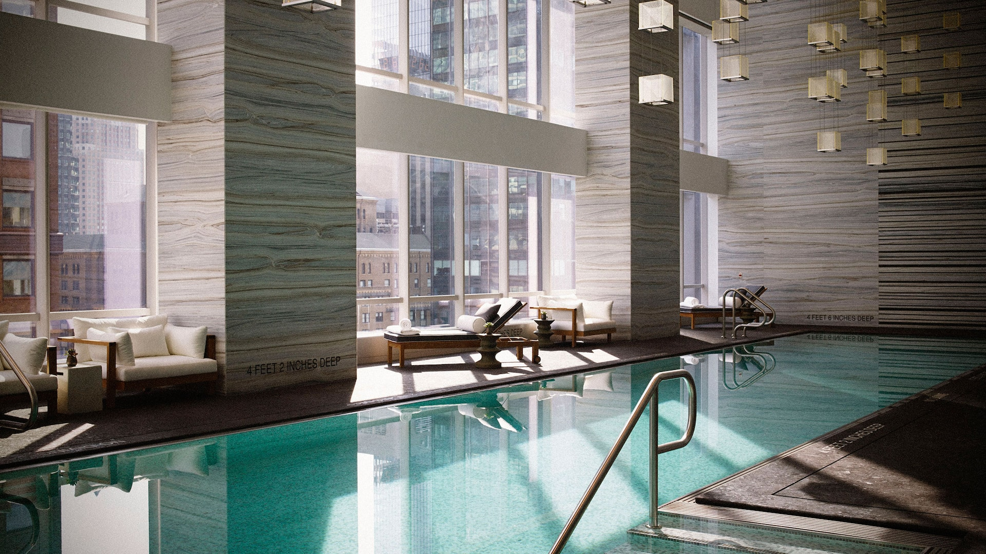 Indoor pool overlooking NYC