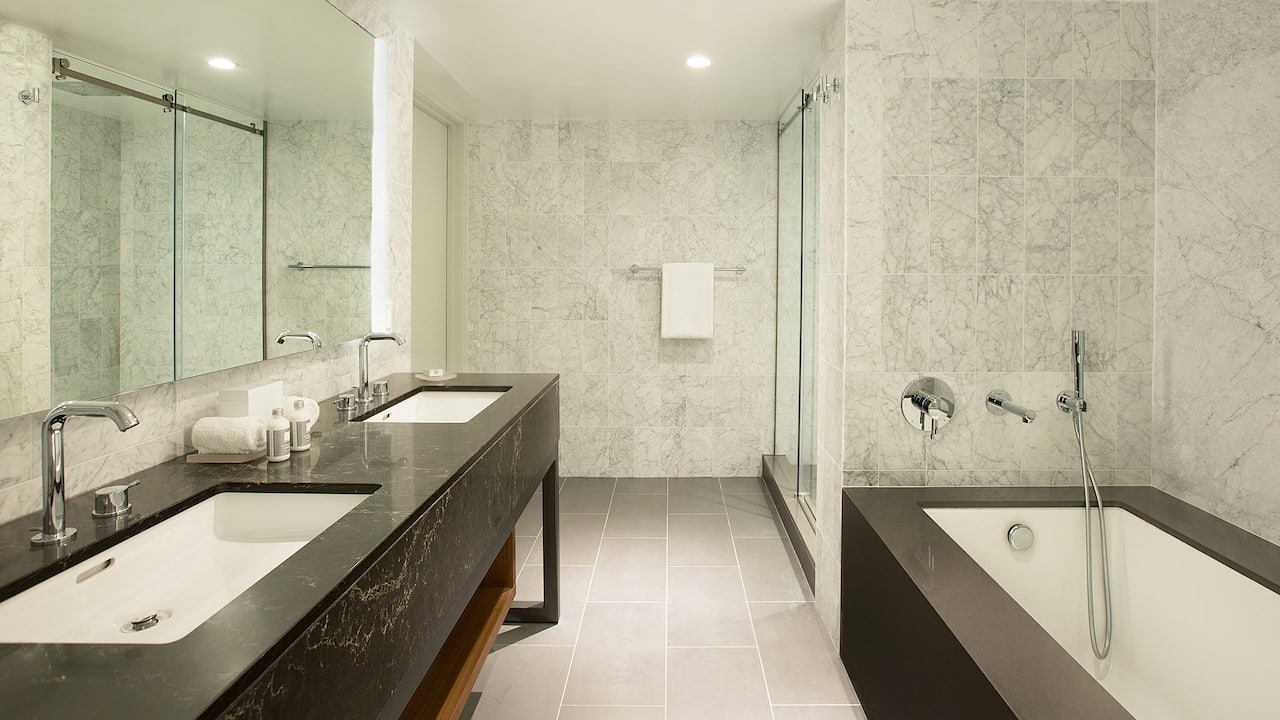 Lavish bathroom in a West Hollywood hotel suite