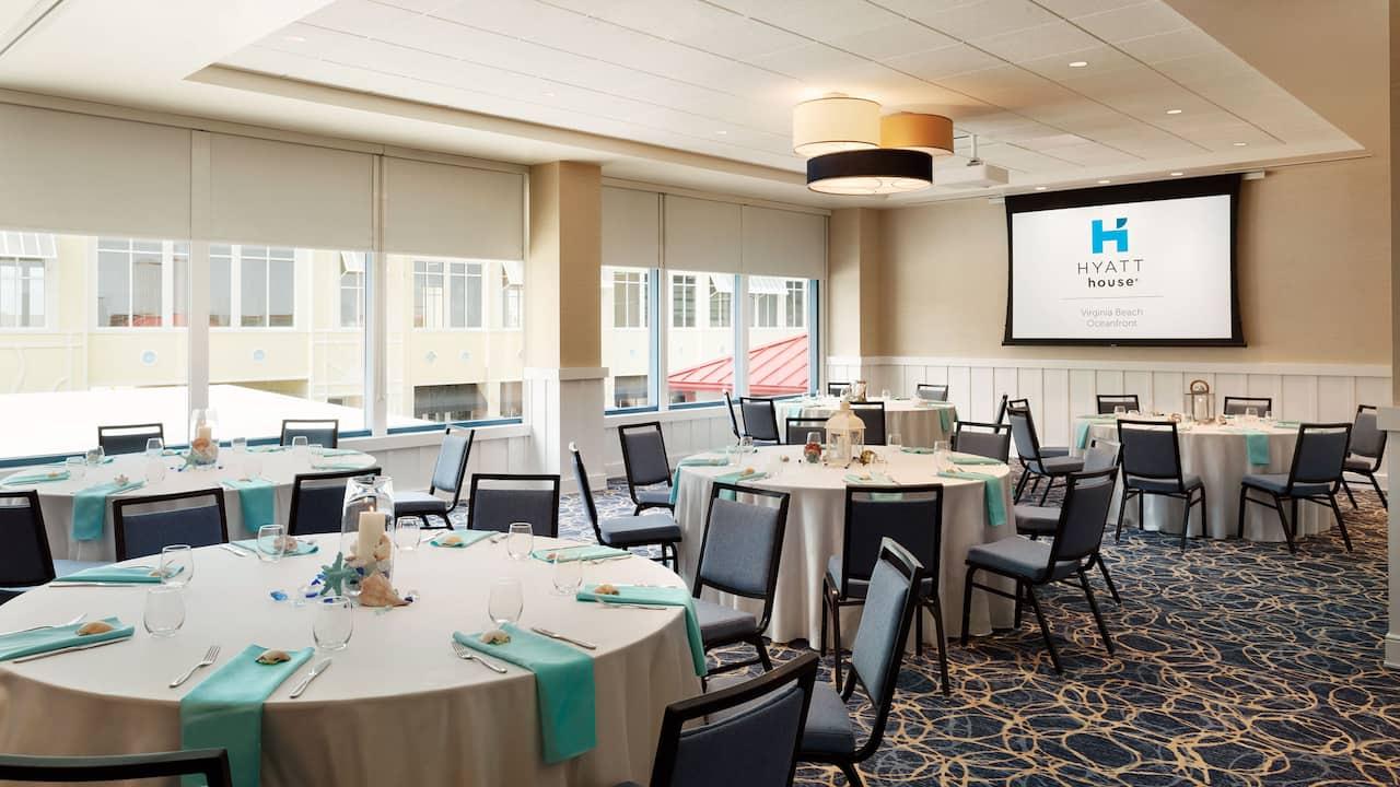 Flexible event space for beach wedding receptions at the Hyatt House Virginia Beach Oceanfront