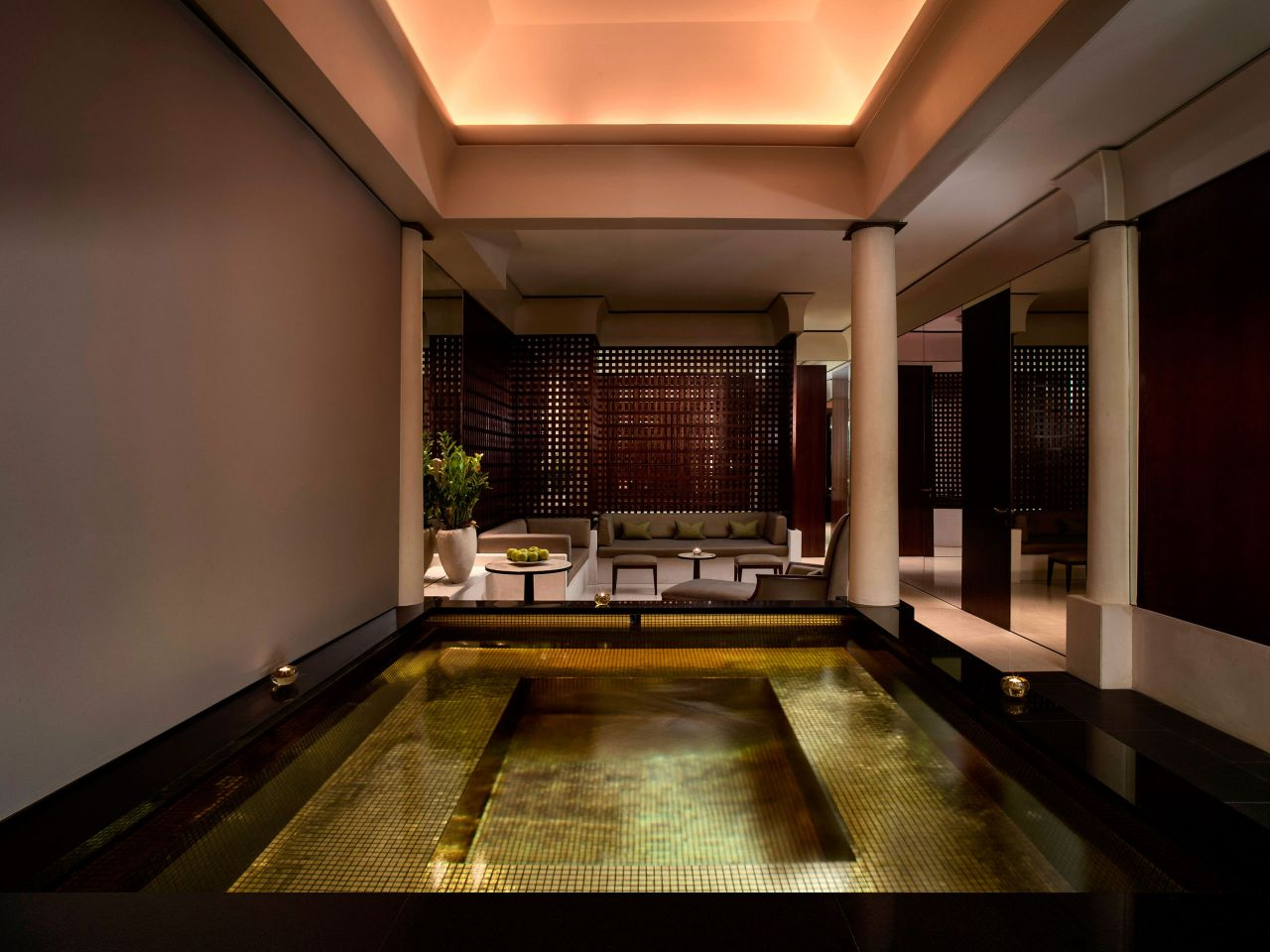 Mosaic jacuzzi and spa sitting area