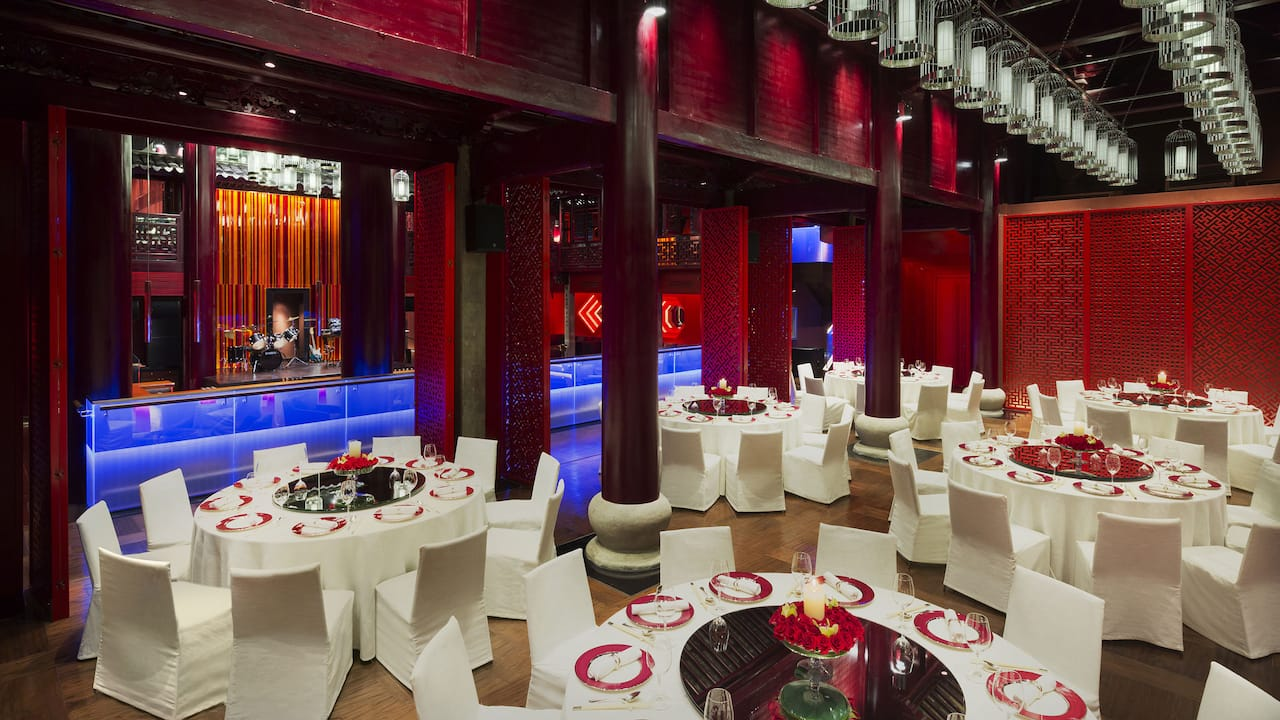 Red Dining Area