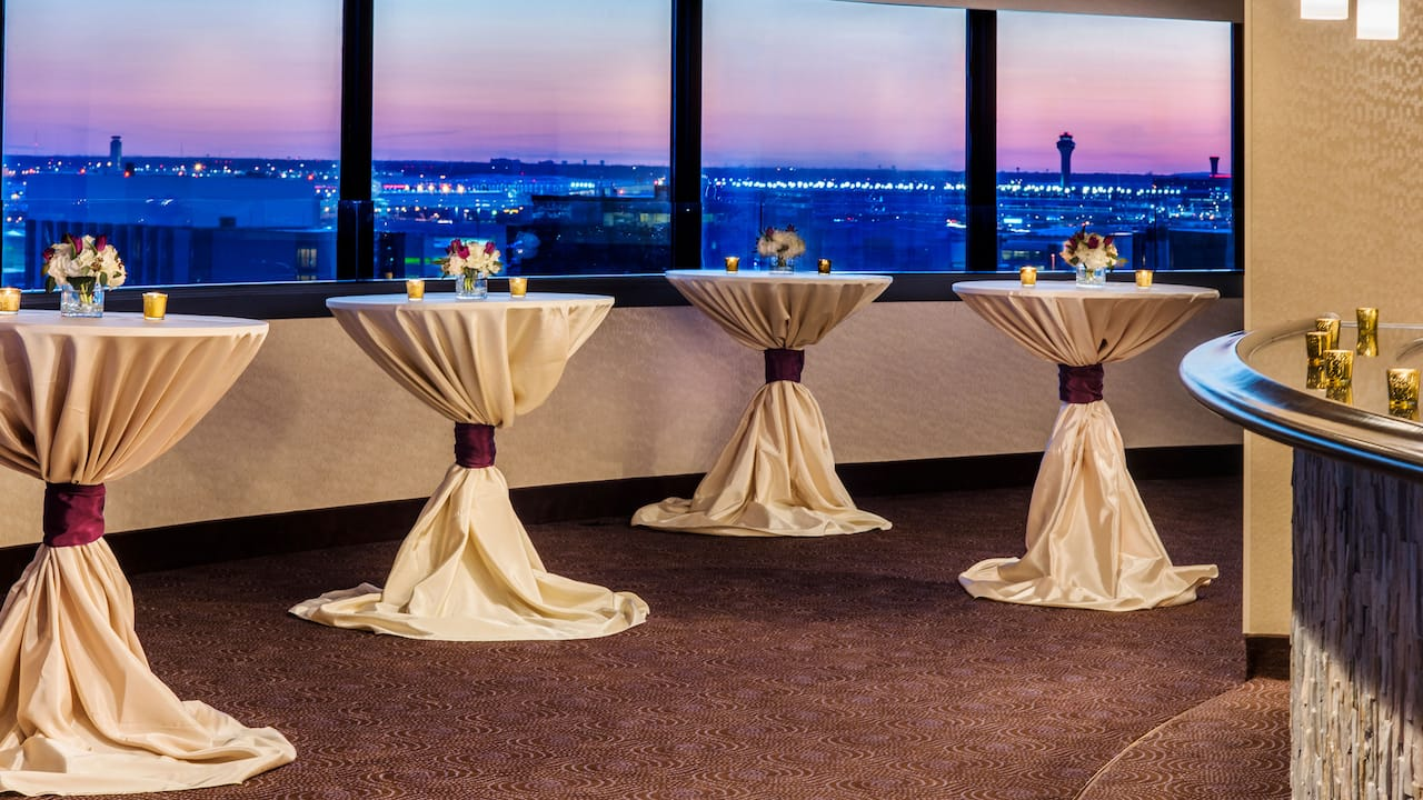 Wedding table set up with a view of O'Hare Airport