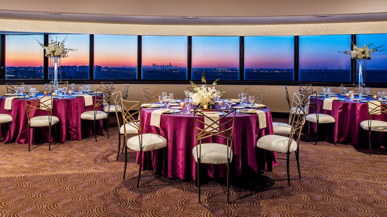 Spacious wedding venue with a view of Rosemont, IL