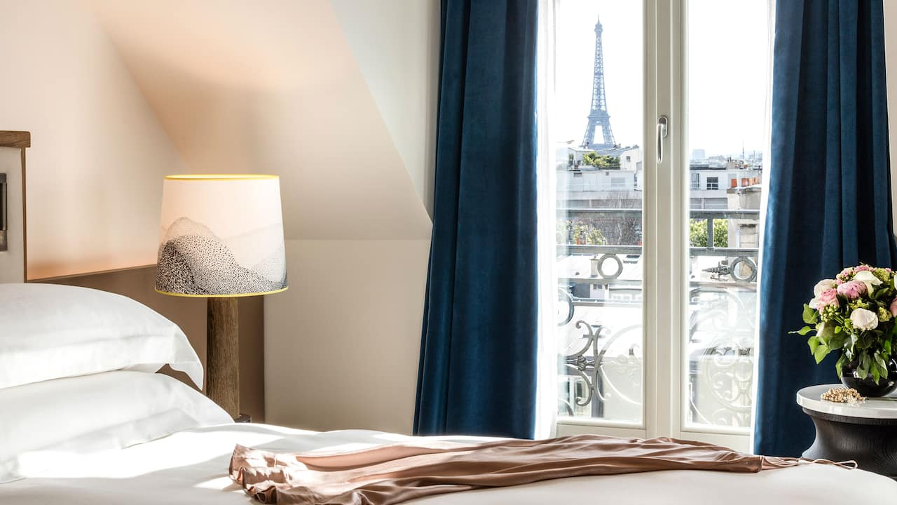 Eiffel Tower Suite Bedroom Eiffel View Nightdress at Hyatt Paris Madeleine