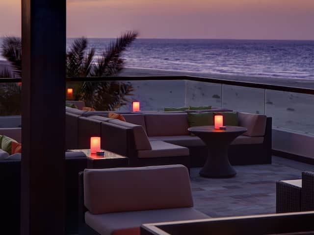 Outdoor seating by the water