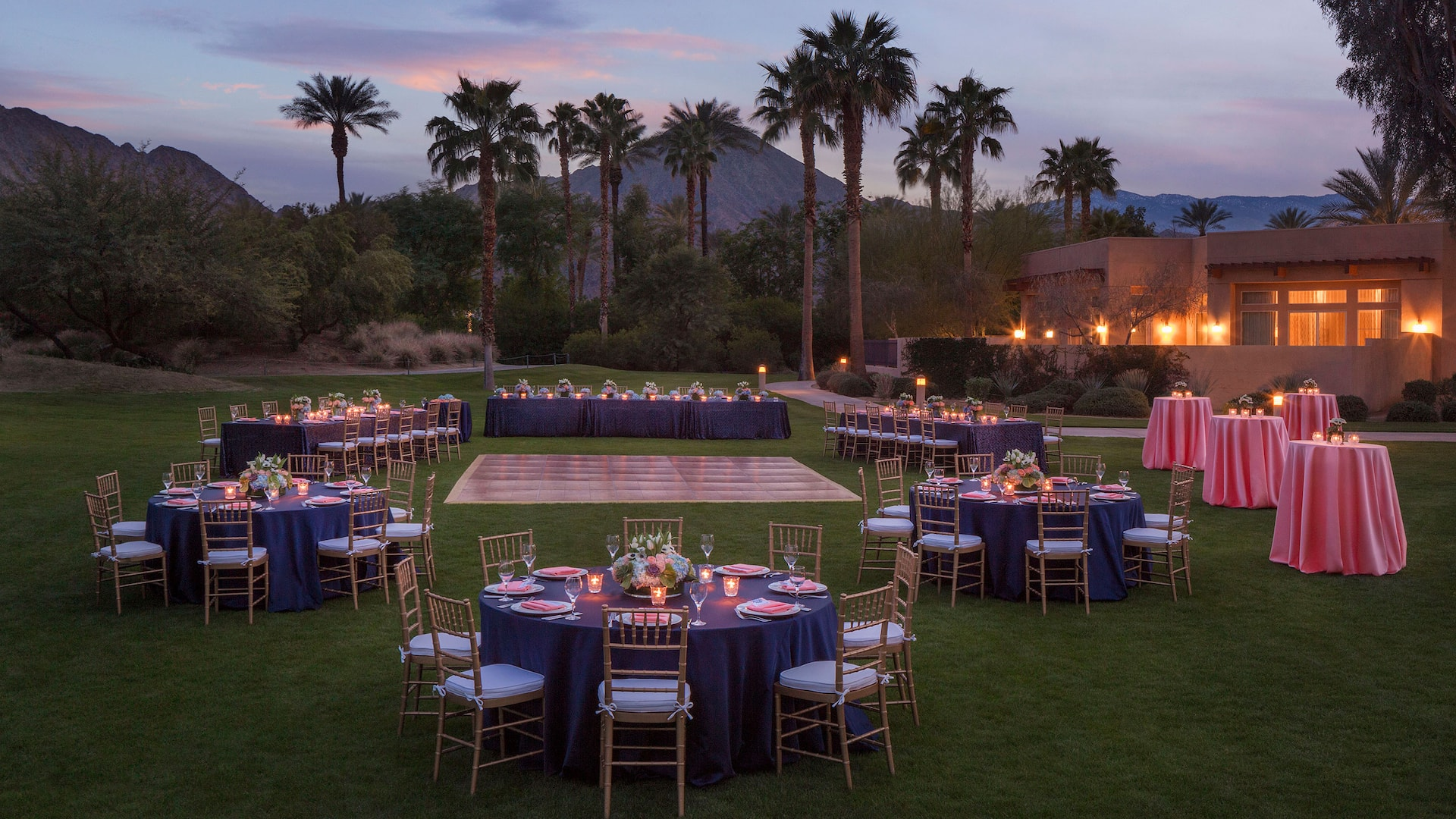A beautifully decorated outdoor wedding venue at Palm Springs