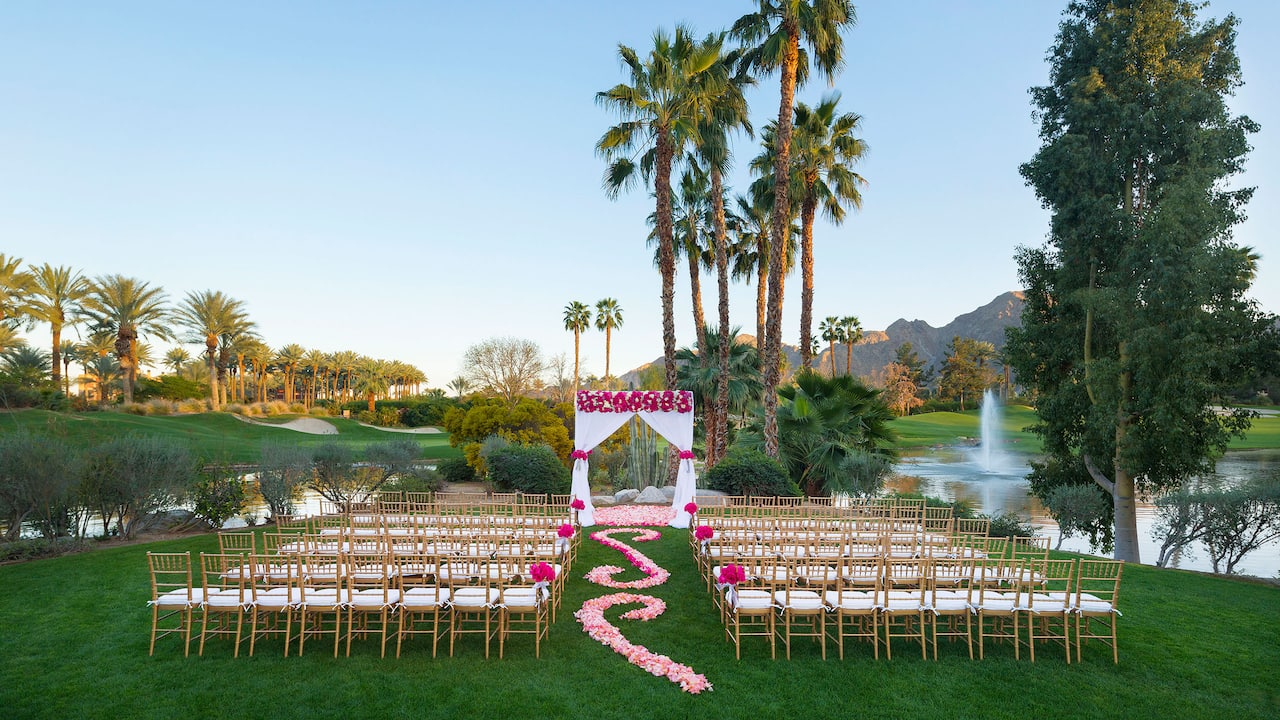 An outdoor wedding ceremony at Verde Vista within Hyatt Regency Indian Wells Resort & Spa