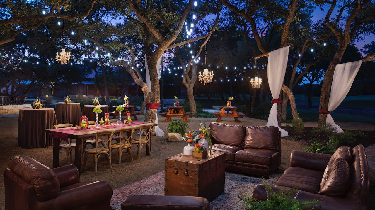 Outdoor reception patio at Hyatt Regency Hill Country Resort & Spa in San Antonio, TX