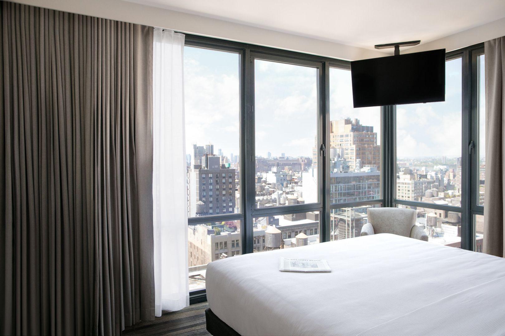 Hyatt House New York/Chelsea hotel room overlooking NYC