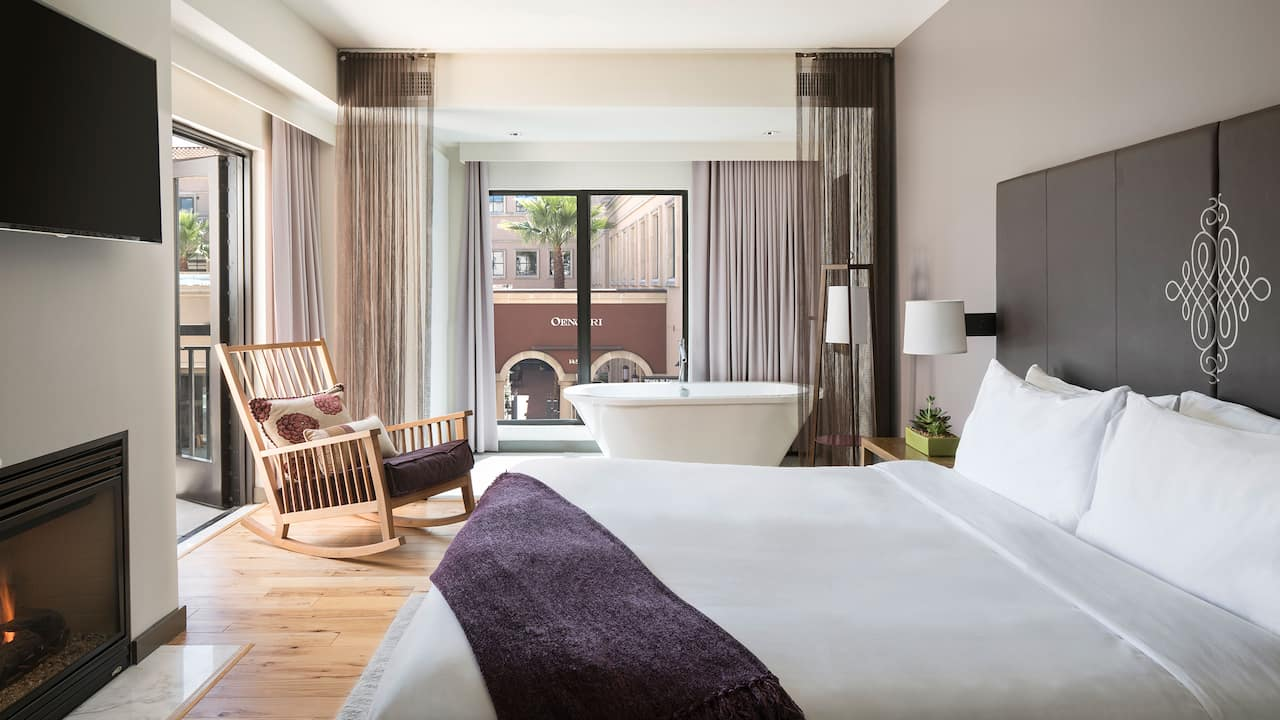 Luxury Boutique Hotel Room with a King Bed and a View of Downtown Napa Valley
