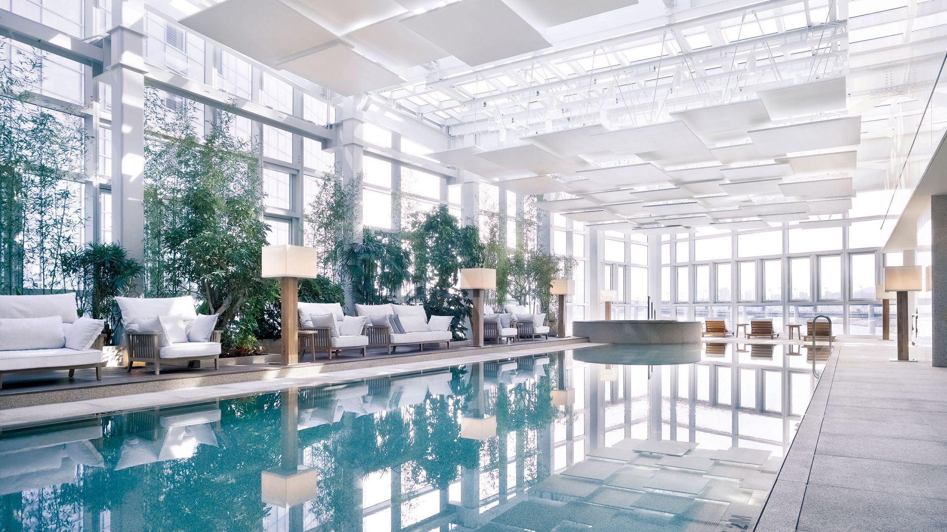 Indoor hotel pool, day time sunlight