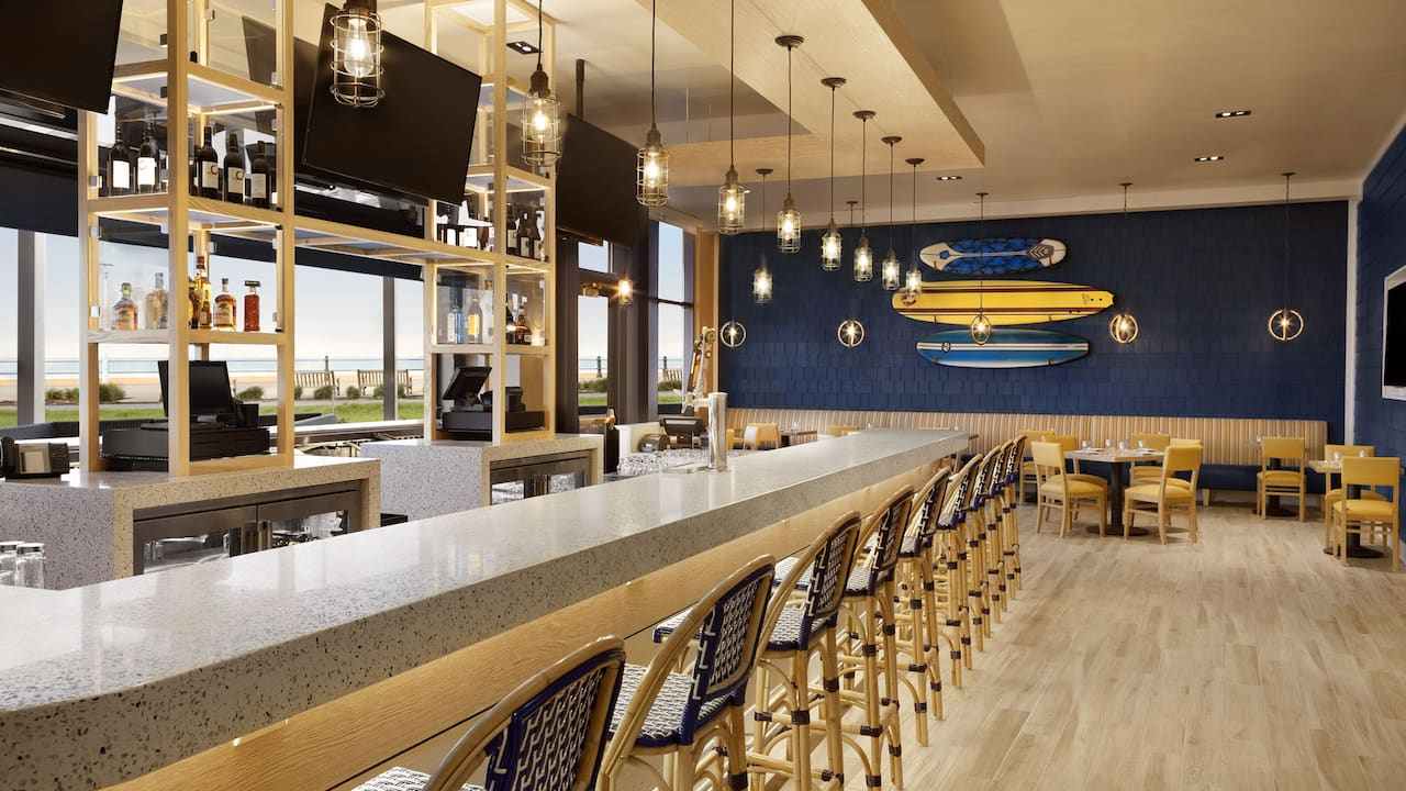 H Bar seating at the Hyatt House Virginia Beach Oceanfront