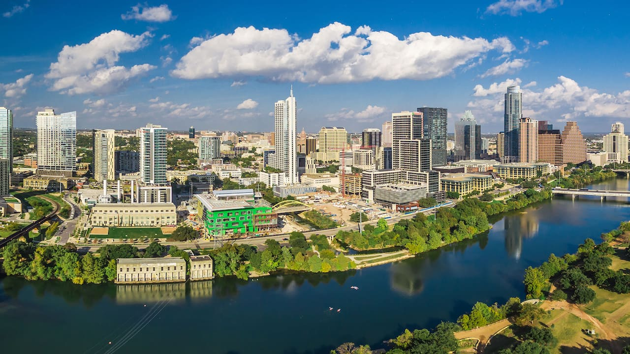 Views of the Austin skyline and cityscape from Hyatt Place Austin / Arboretum