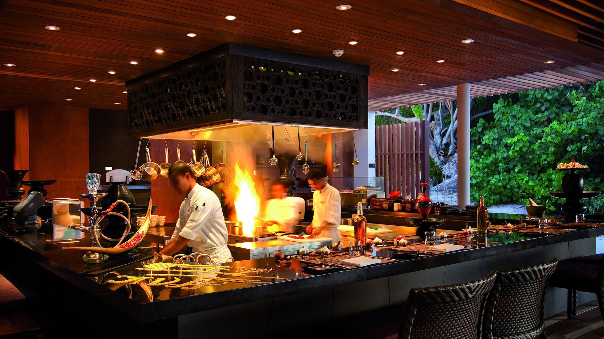 Luxury Maldives resort seafood restaurant island grill