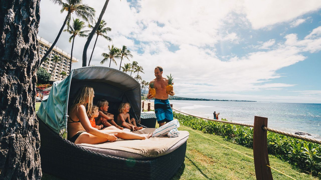 Family Enjoying Oceanfront Cabana at Hyatt Regency Maui Resort & Spa