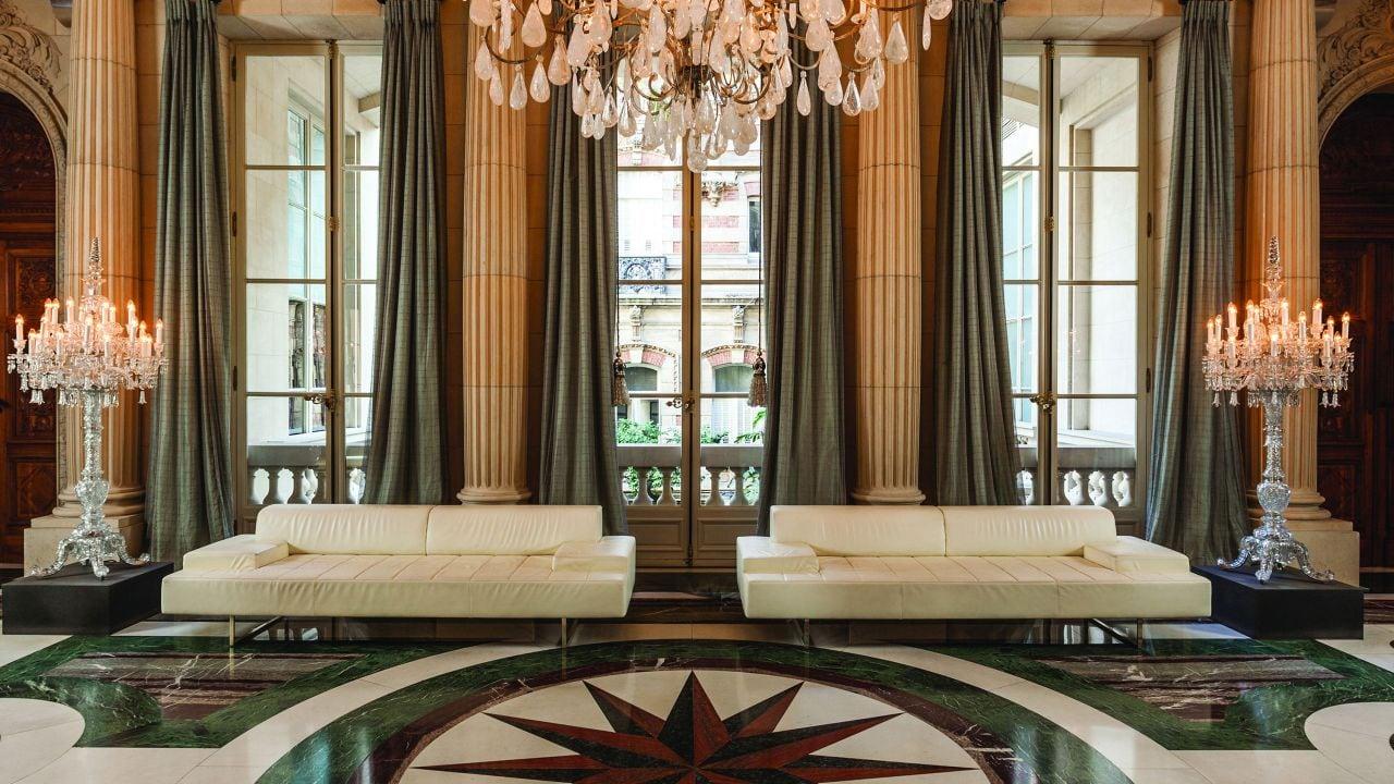Crystal Room, chandliers on marble floor