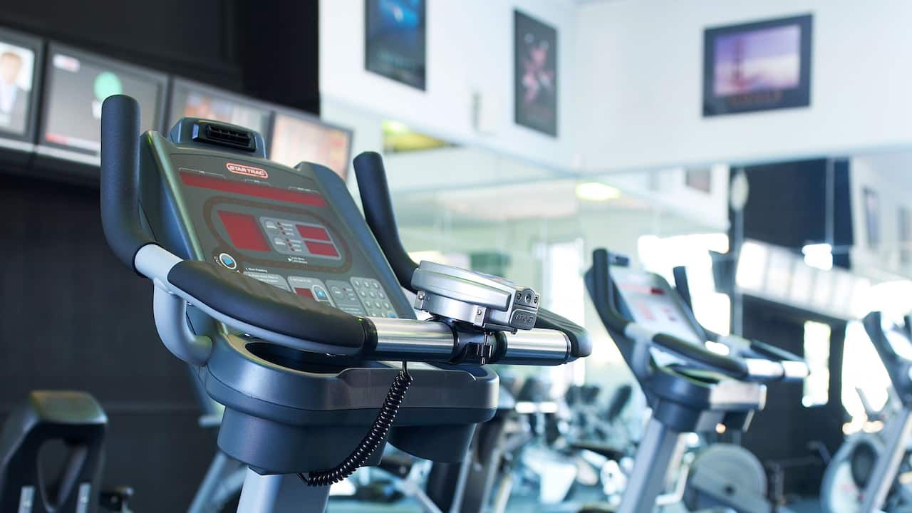 Exercise bike at fitness center