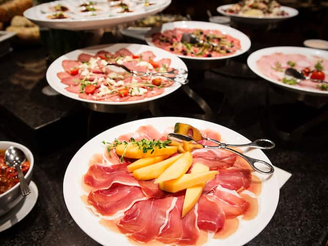 Plated charcuterie spread