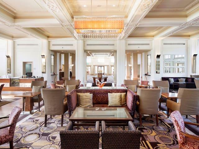 Hotel lobby in daytime sunshine
