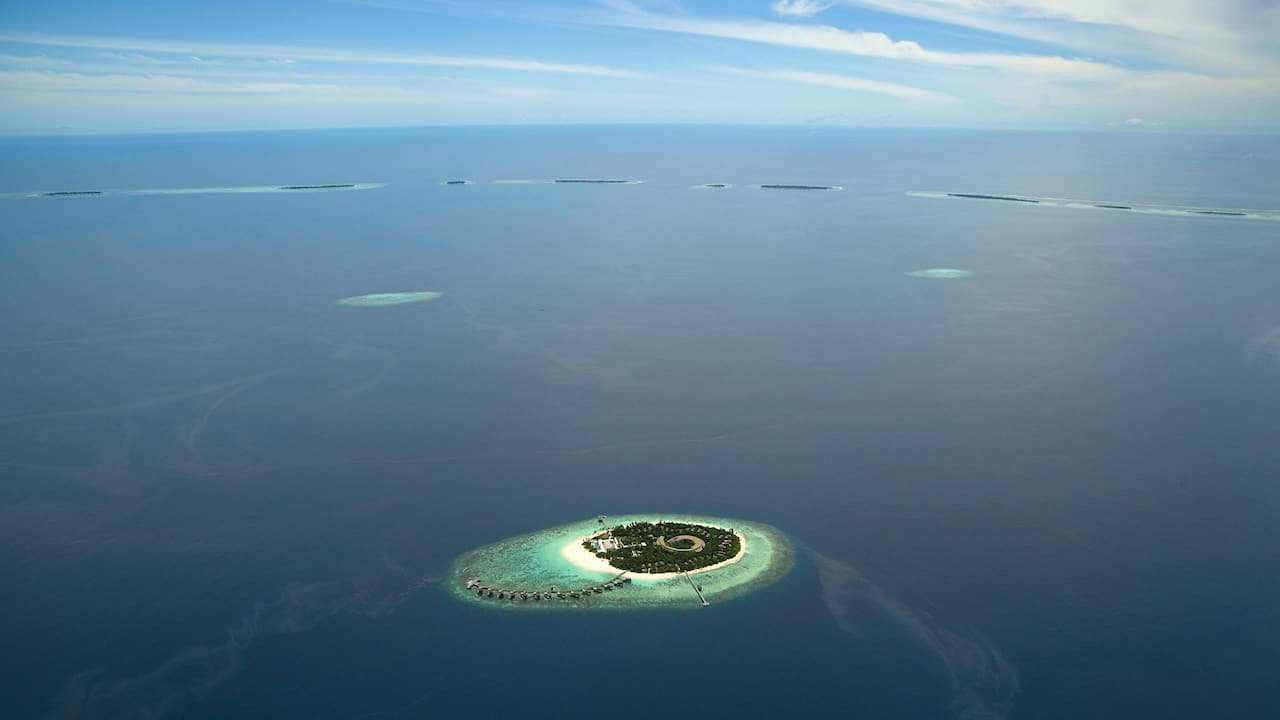 Luxury Maldives resort Island Aerial Landscape