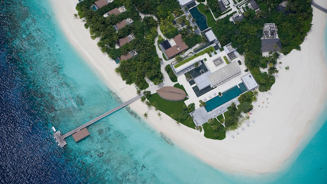 Luxury maldives resort island view