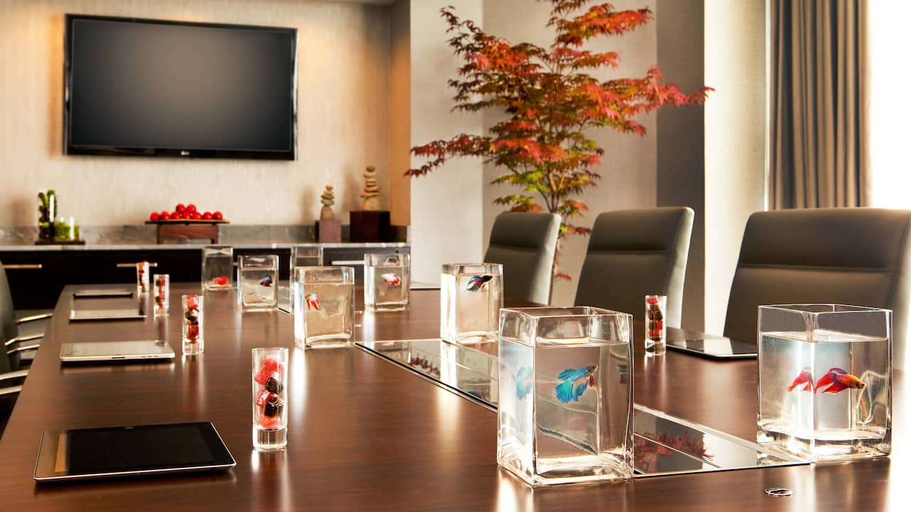 Sophisticated meeting room with Beta Fish for each chair at the Hyatt Regency Boston