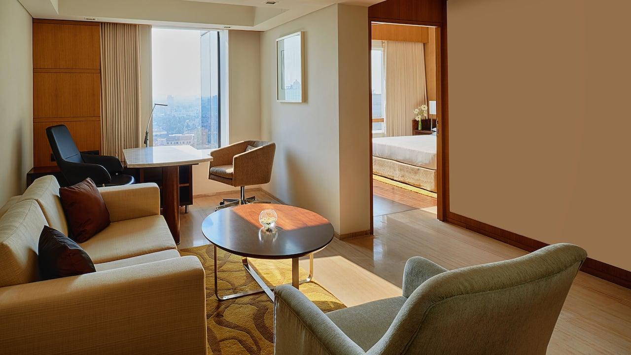 Comfortable lounge in deluxe suite