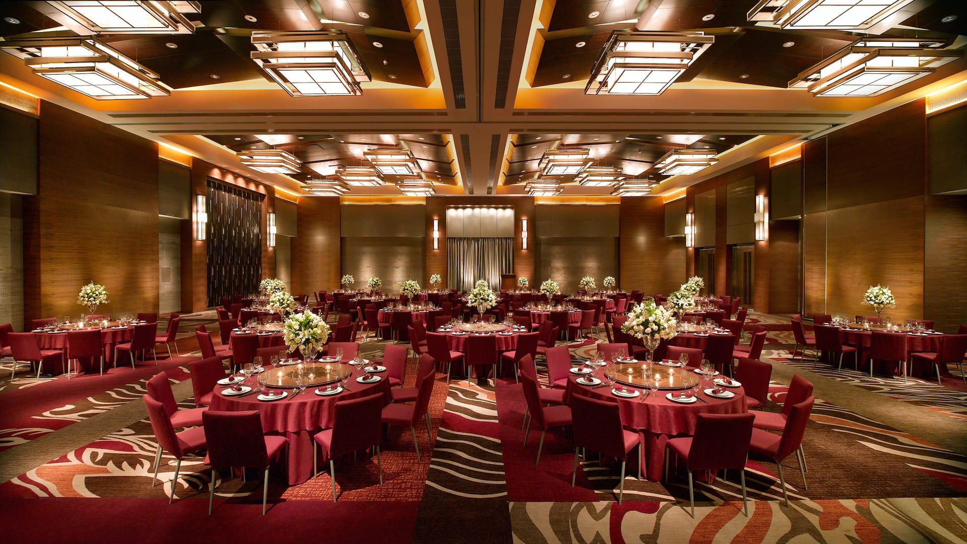Ballroom with banquet setup