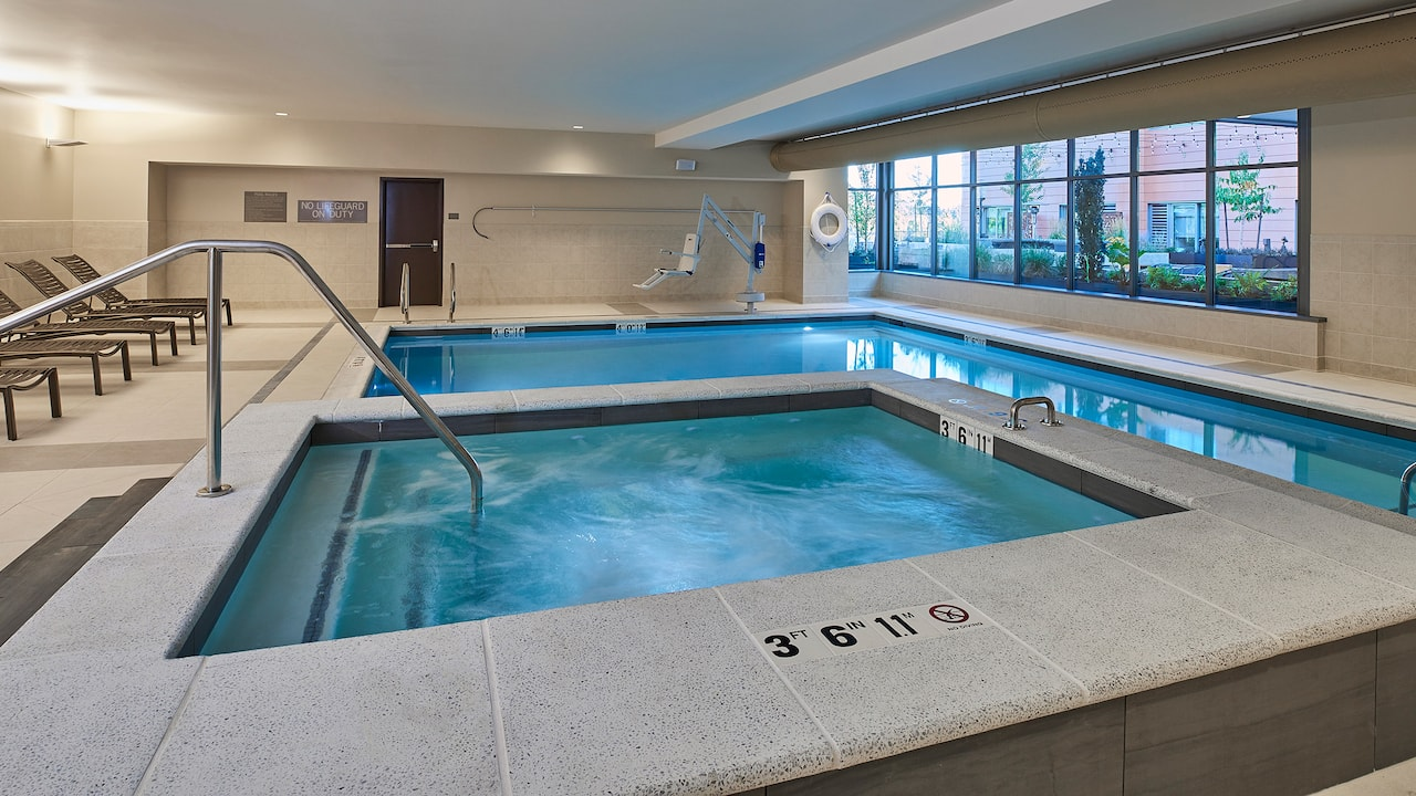 Indoor saltwater pool at our Eugene hotel with a pool