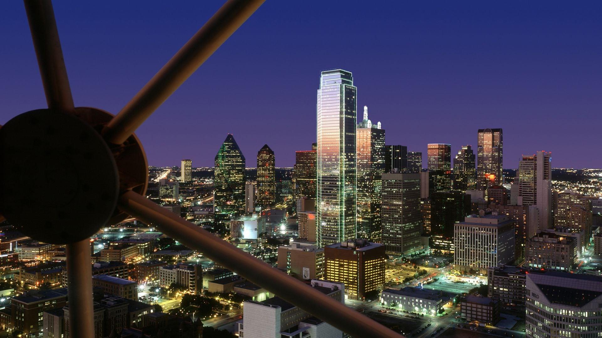 Night View of Skyline from Reunion Tower Hyatt Regency Dallas