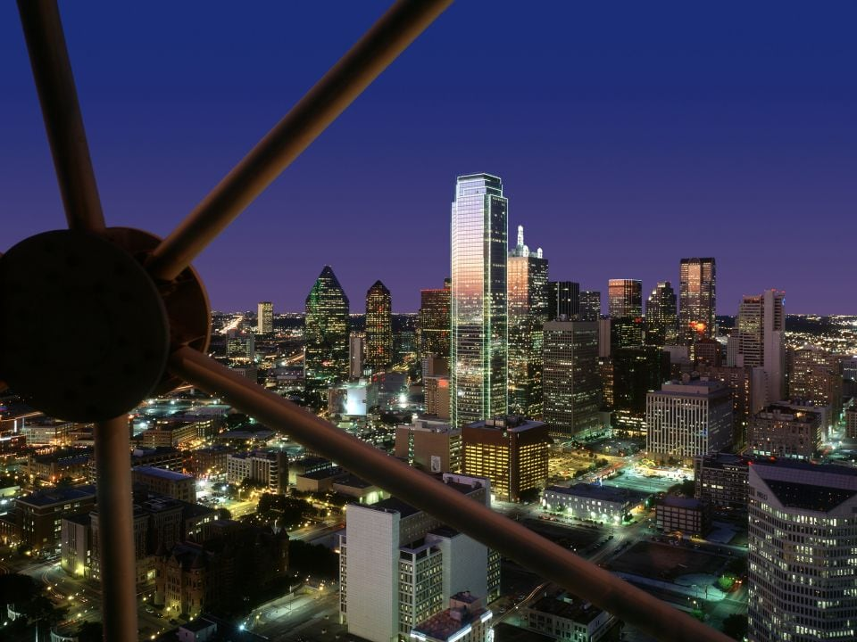 Night view of Dallas skyline from Reunion Tower