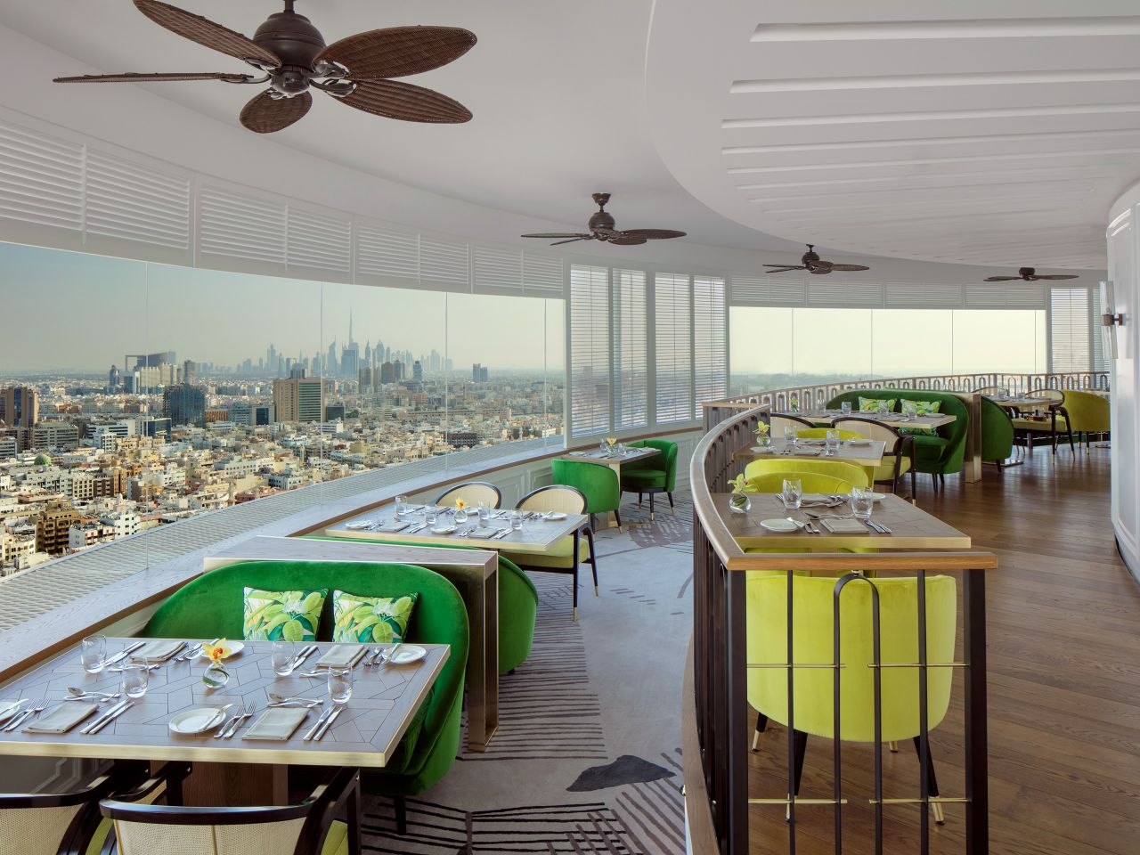 Revolving restaurant with daytime view of Dubai