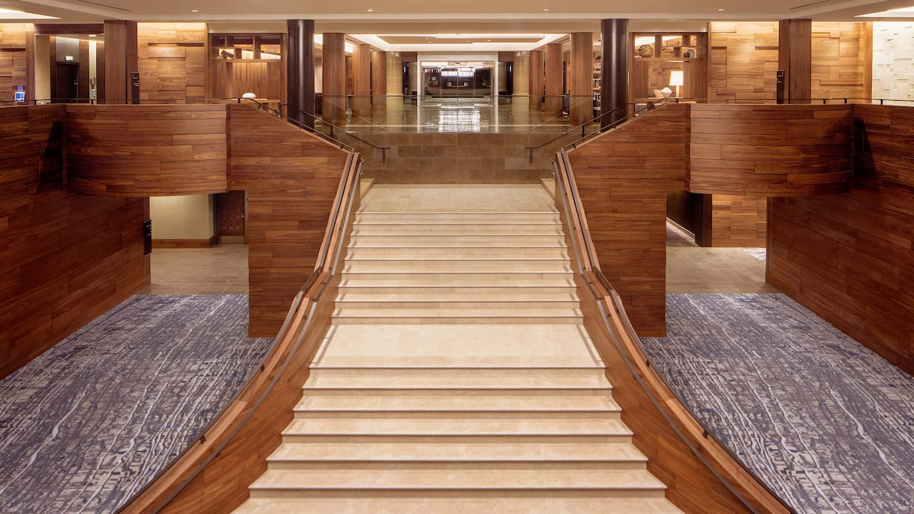 Grand stair prefunction space Hyatt Regency Lake Washington at Seattle's Southport