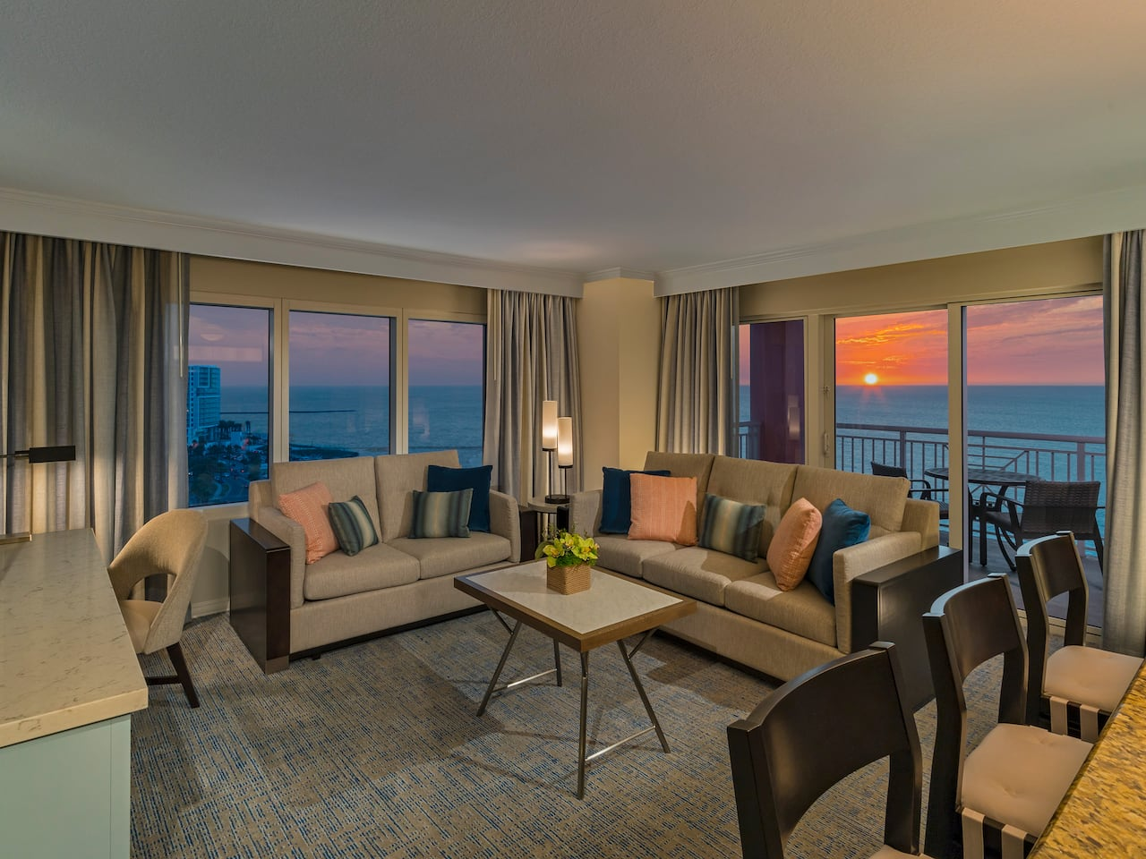 Clearwater Beach Resort Suite with Balcony at Sunset