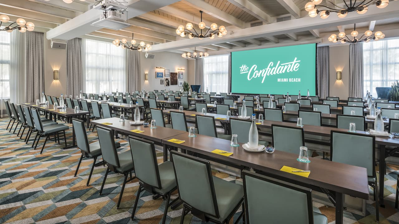Large meeting room inside The Confidante Miami Beach