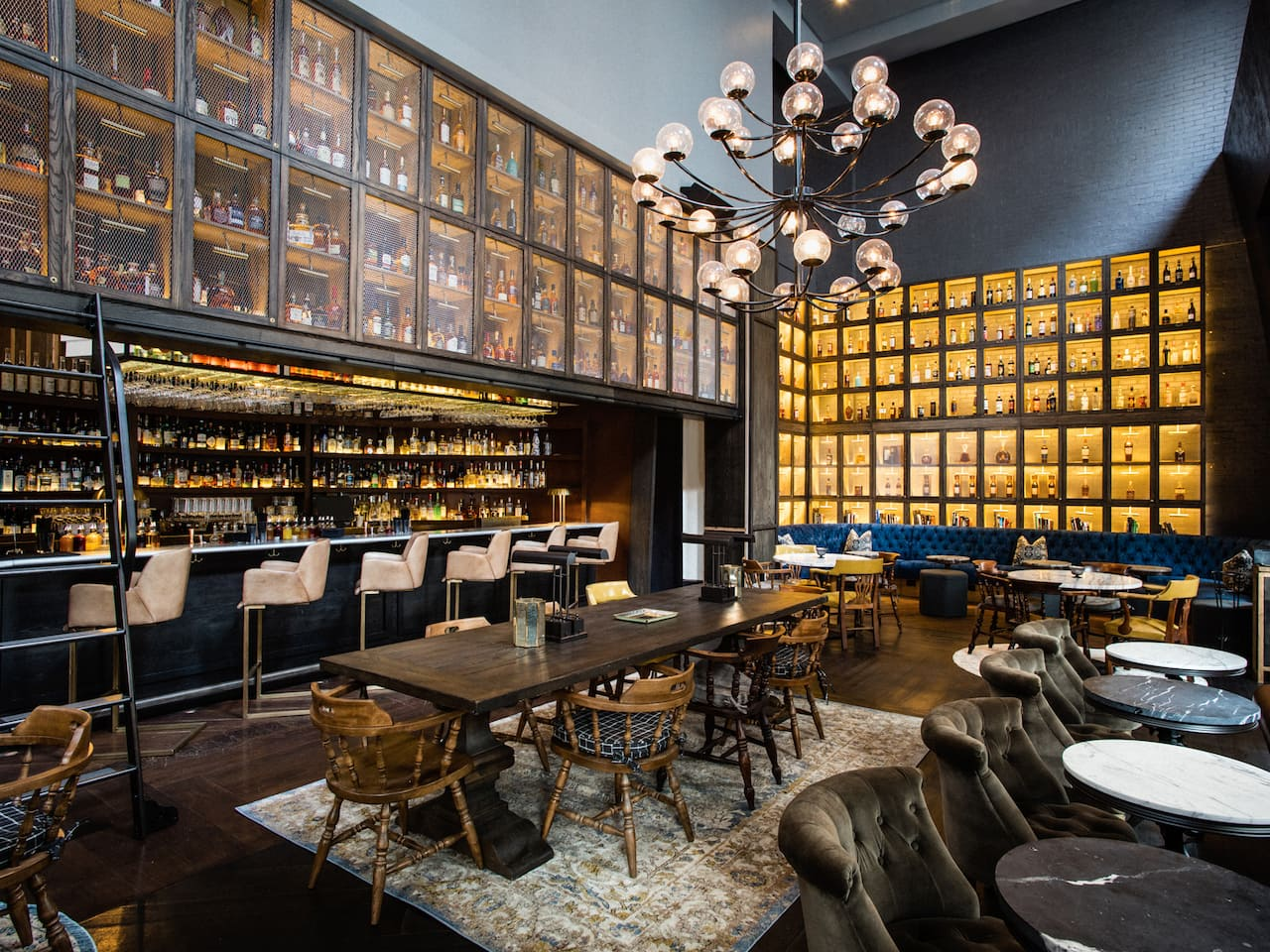 The Library of Distilled Spirits bar/lounge at Hyatt Union Square New York