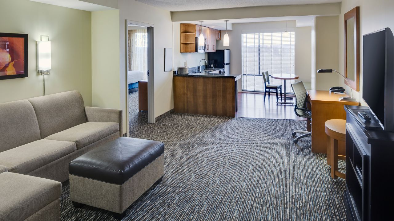 One Bedroom Suite Living Area Kitchen