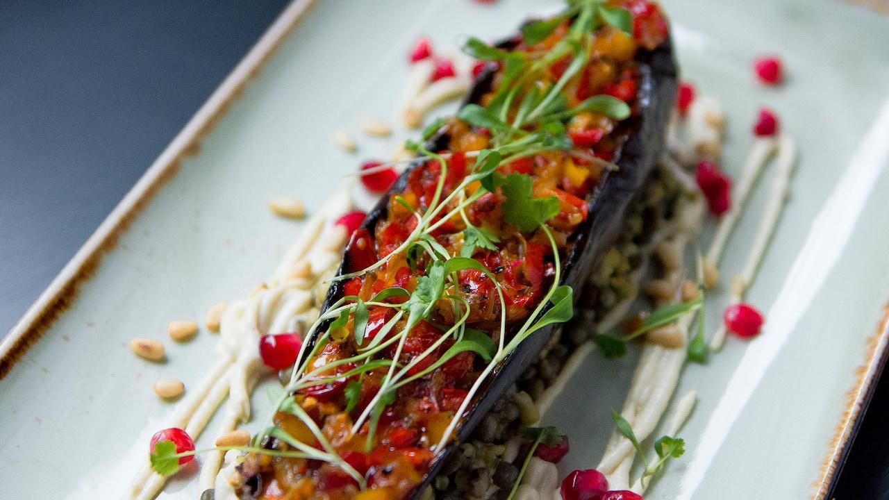 Aubergine dish | Andaz London Liverpool Street