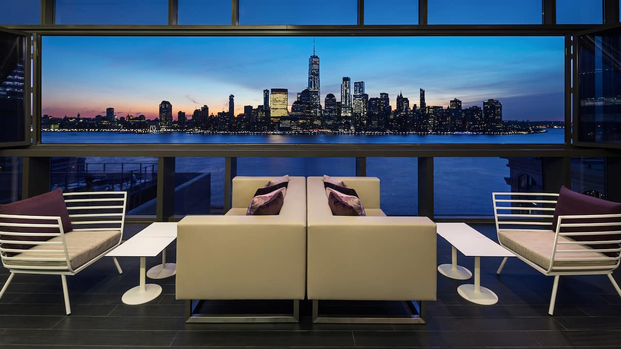 Hyatt House Jersey City Bar Manhattan Night View
