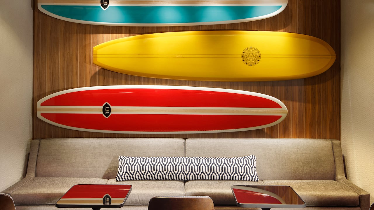 Example of surf boards available near the Boardwalk, Santa Cruz, CA
