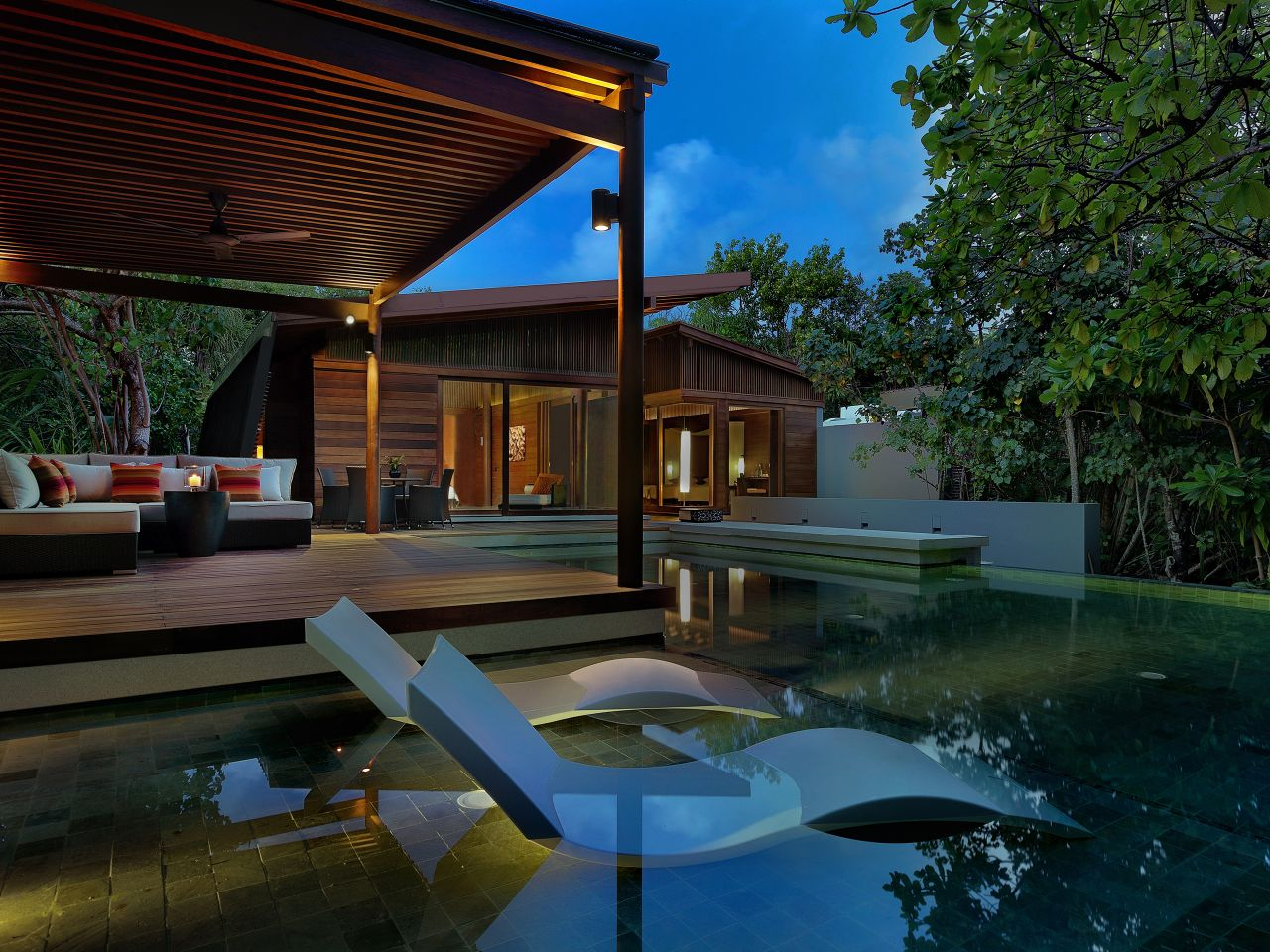 pool villa outdoor evening