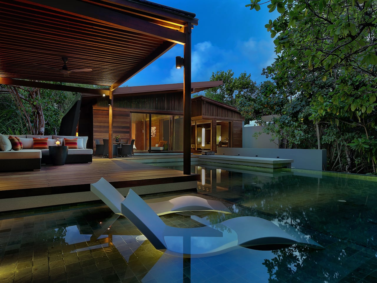 pool villa outdoor evening