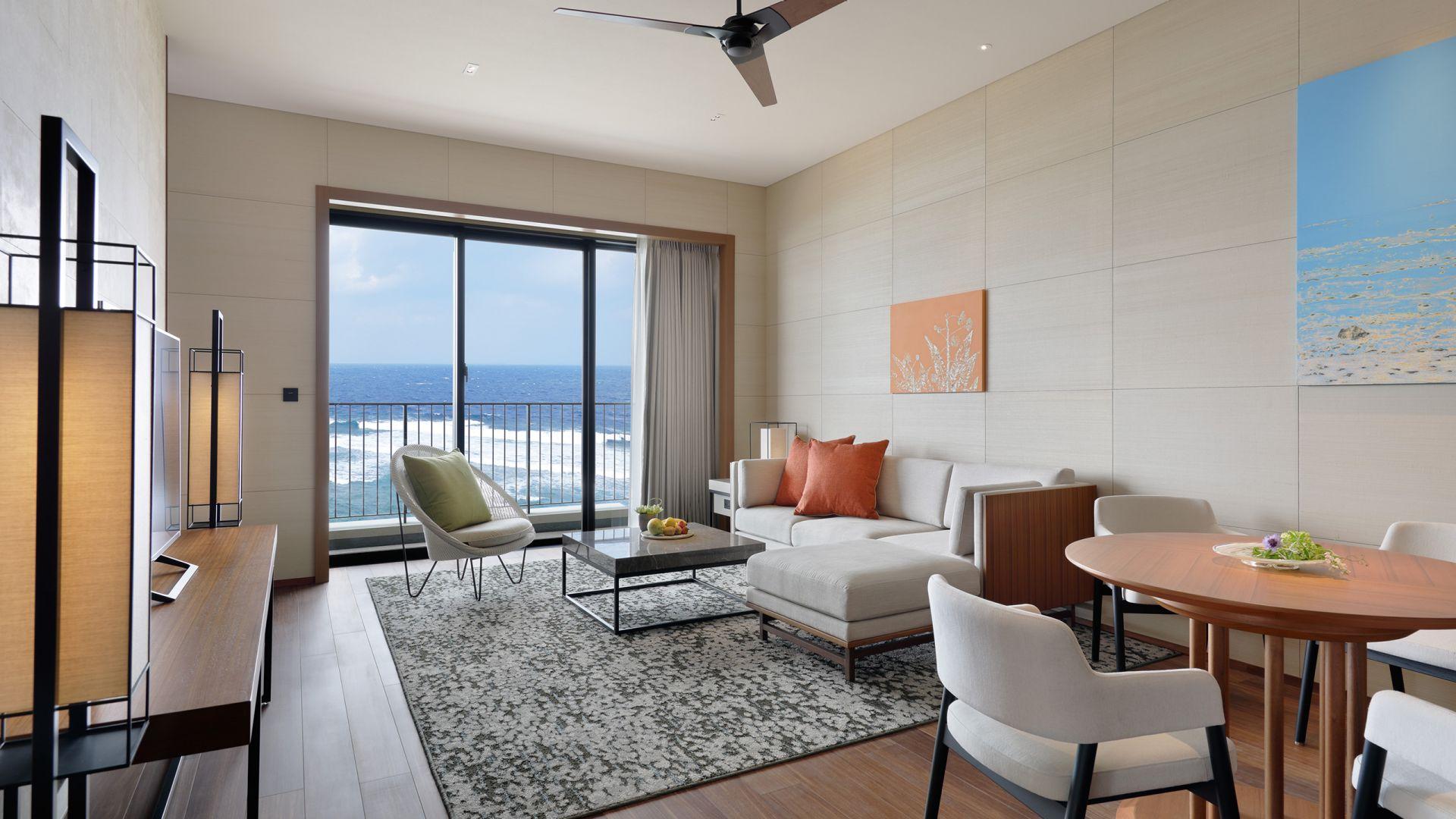 Hyatt Regency Seragaki Island, Okinawa Ocean Corner Suite Living Room