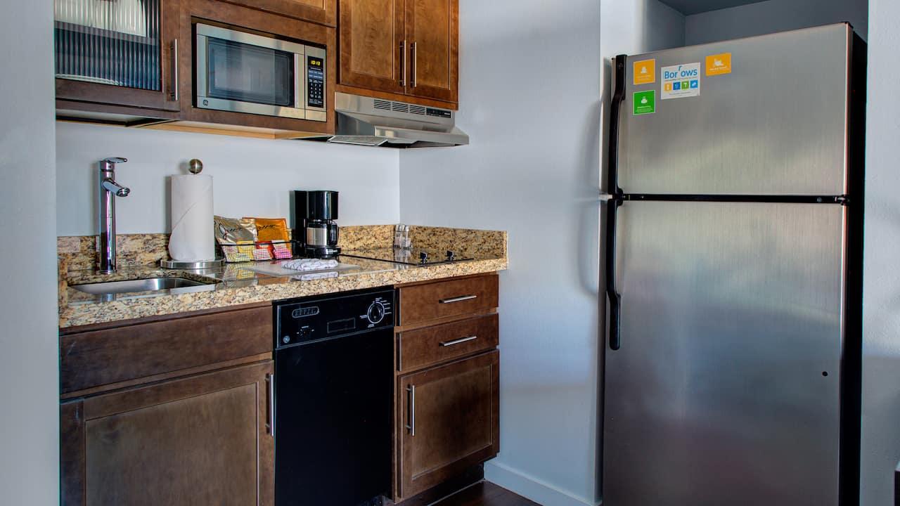Family friendly hotel suite kitchenette at Hyatt House Shelton