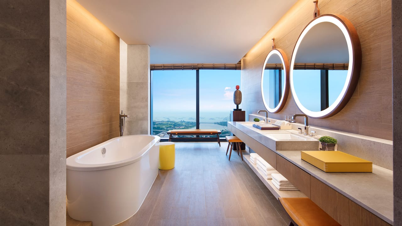 Andaz Large Suite bathrooms, spacious and freestanding bathtub, Andaz Singapore