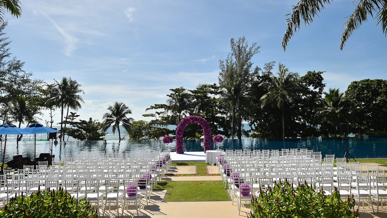 5-star Phuket Hotel in Kamala Beach Poolside Wedding Ceremony